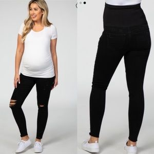 Pinkblush Black Distressed Ripped Maternity Jeans